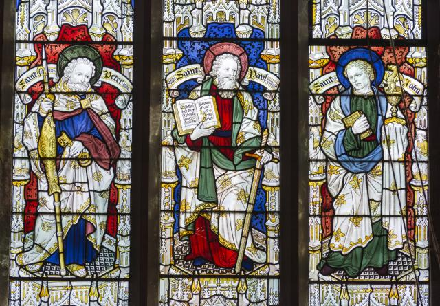 St Peter, St Paul and St John    detail from    New Testament Saints